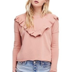 FREE PEOPLE PINK OOH LA RUFFLE L/S TOP
